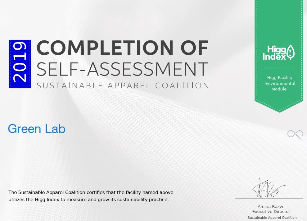 Certificate Higg Green Lab