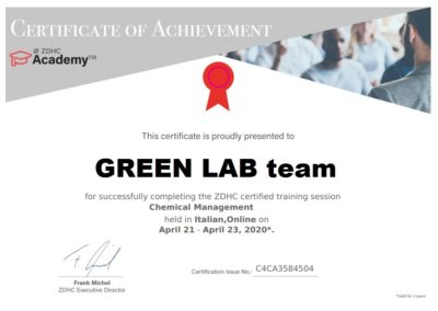 ZDHC certificate Chemical Maagement