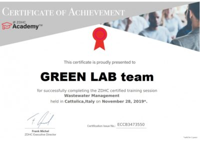 ZDHC certificate Wastewater Maagement