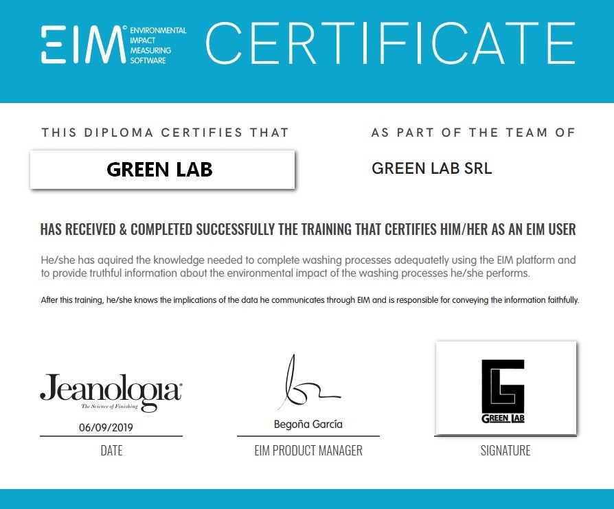 EIM certificate green lab