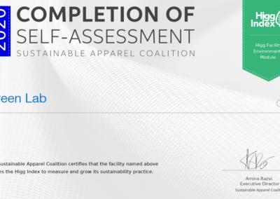Certificate Higg Green Lab 2020